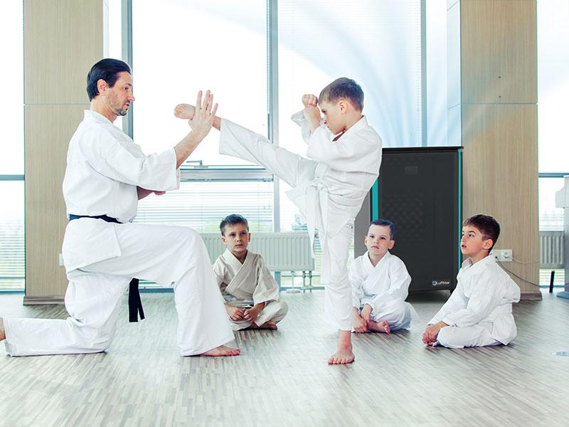 Luftklar Luftreiniger erzeugt sichere Raumluft im Judo Training
