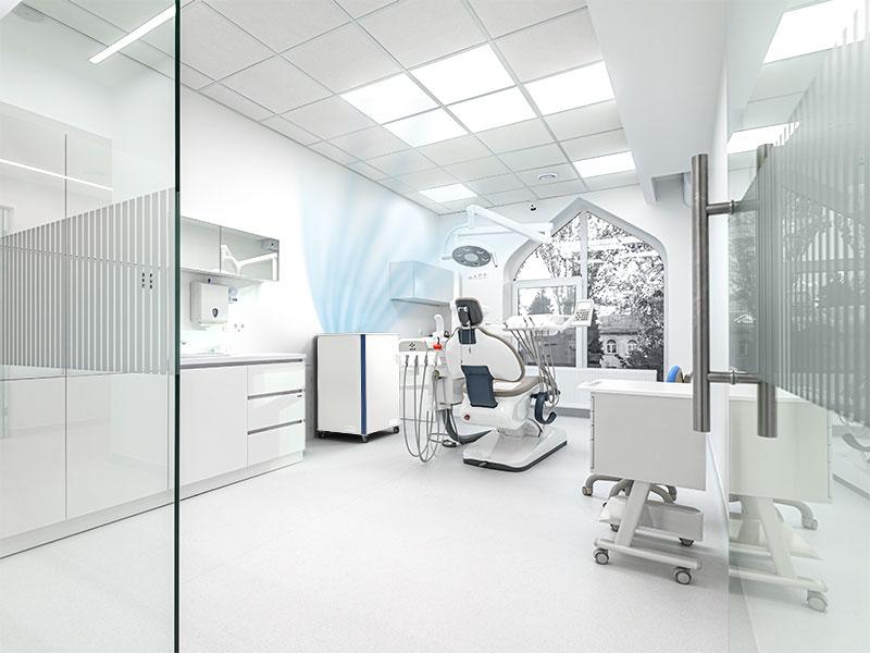 Luftklar Luftreiniger erzeugt sichere Raumluft beim Zahnarzt im Behandlungszimmer